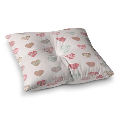 Pastel Hearts Pattern Illustration by Afe Images Floor Pillow Size: 23 x 23