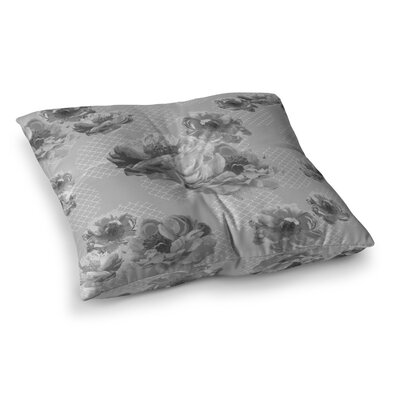 Lace Peony by Pellerina Design Floor Pillow Size: 26 x 26, Color: Gray