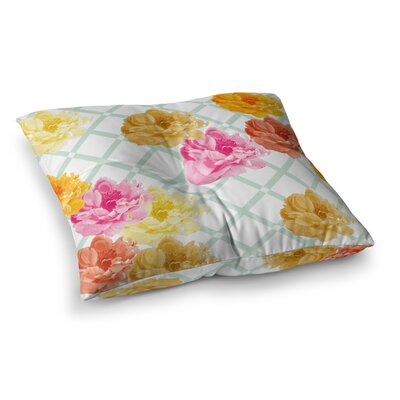 Trellis Peonies Flowers by Pellerina Design Floor Pillow Size: 23 x 23