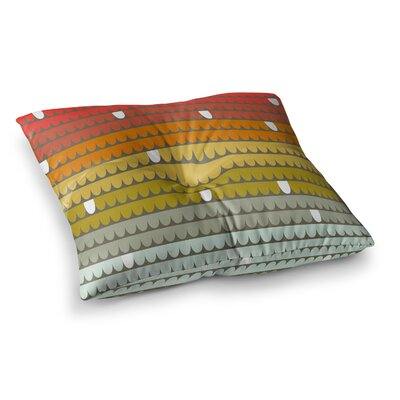 Rainbow Scallops by Pellerina Design Floor Pillow Size: 26 x 26, Color: Blue