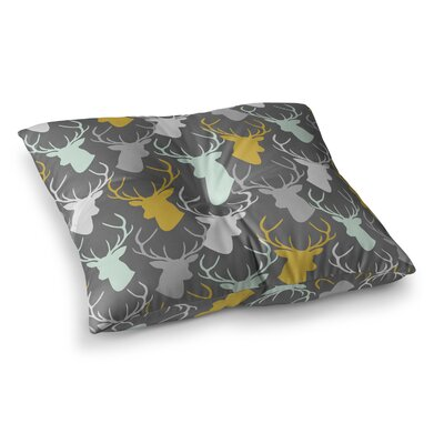 Scattered Deer by Pellerina Design Floor Pillow Size: 23 x 23, Color: Gray/White/Gold