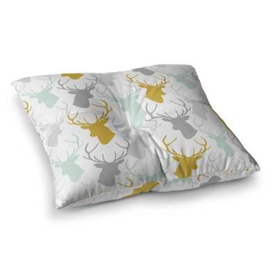 Scattered Deer by Pellerina Design Floor Pillow Size: 23 x 23, Color: Gold/Green