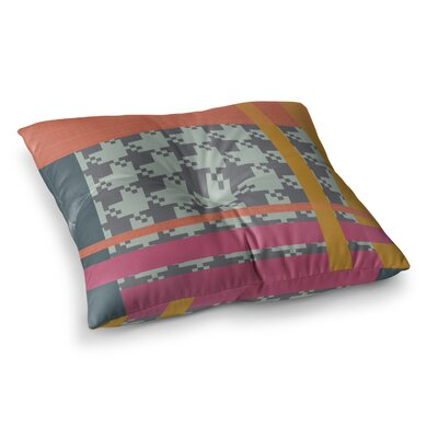 Houndstooth Color Block Contemporary by Pellerina Design Floor Pillow Size: 26 x 26