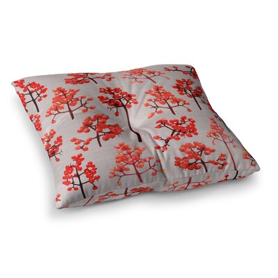 Holiday Berry Twigs Floral Nature by Pallerina Design Floor Pillow Size: 26 x 26