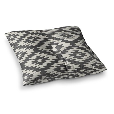 Navajo by Amanda Lane Floor Pillow Size: 26 x 26, Color: Black/Cream
