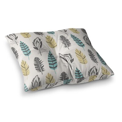 Feathers Digital by Amanda Lane Floor Pillow Size: 23 x 23