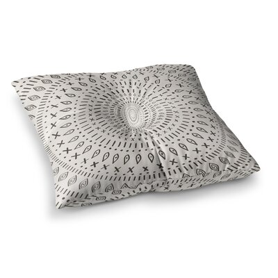 Bohemian Tribal Mandala Digital Illustration by Amanda Lane Floor Pillow Size: 23 x 23, Color: Beige/Black