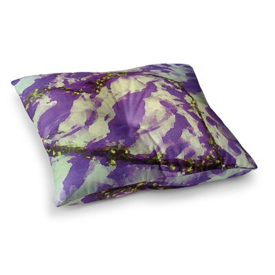 Tiger Love by Anne LaBrie Floor Pillow Size: 26 x 26, Color: Yellow/Purple