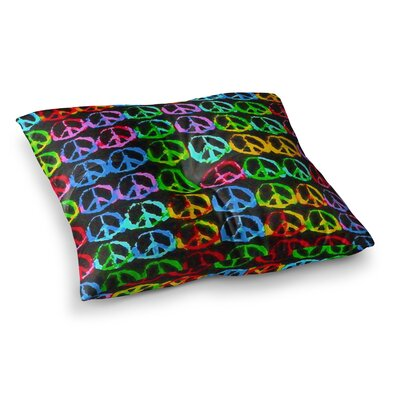 Give Peace a Chance Pop Art by Anne LaBrie Floor Pillow Size: 26 x 26