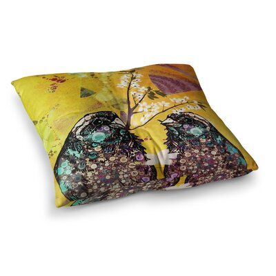Birds in Love by AlyZen Moonshadow Floor Pillow Size: 26 x 26, Color: Orange/Gold/Yellow