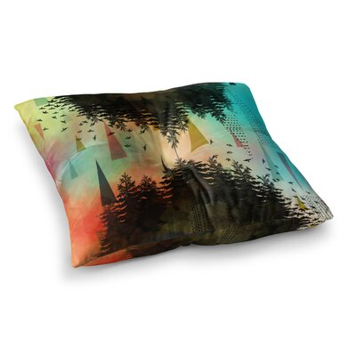 As Above, So Below by AlyZen Moonshadow Floor Pillow Size: 23 x 23, Color: Orange/Teal/Turquoise