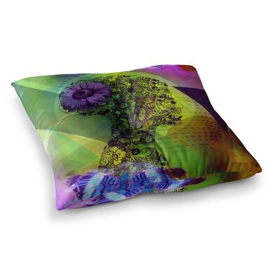 Silhouette by AlyZen Moonshadow Floor Pillow Size: 26 x 26, Color: Green/Purple