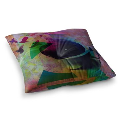 Tea Birds by Alyzen Moonshadow Floor Pillow Size: 26 x 26