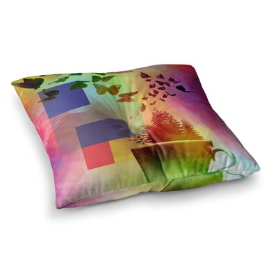 Teacup Fantasy Birds by Alyzen Moonshadow Floor Pillow Size: 26 x 26