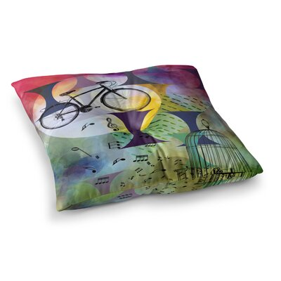 Bike to the Moon by Alyzen Moonshadow Floor Pillow Size: 26 x 26