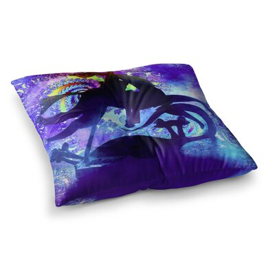 Midnight Horse by Alyzen Moonshadow Floor Pillow Size: 26 x 26
