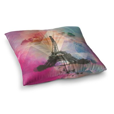 Eiffel Tower by AlyZen Moonshadow Floor Pillow Size: 23 x 23, Color: Pink