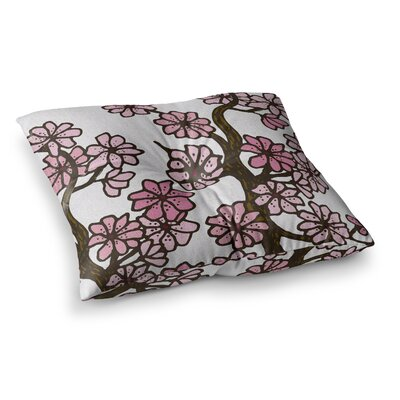 Cherry Blossoms by Art Love Passion Floor Pillow Size: 26 x 26, Color: Pink/White