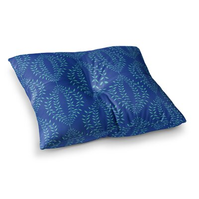 Laurel Leaf Floral by Anneline Sophia Floor Pillow Size: 26 x 26, Color: Blue/Navy