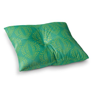Laurel Leaf Floral by Anneline Sophia Floor Pillow Size: 26 x 26, Color: Teal/Green