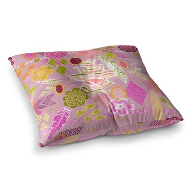 Aztec Boho by Anneline Sophia Floor Pillow Size: 23 x 23, Color: Blue/Yellow