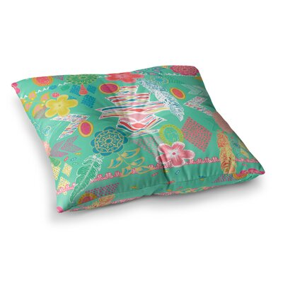 Aztec Boho by Anneline Sophia Floor Pillow Size: 23 x 23, Color: Teal