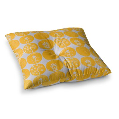 Dotty Papercut Circles by Anneline Sophia Floor Pillow Size: 26 x 26, Color: Yellow/Gray