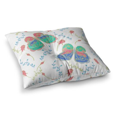 Leafy Butterflies by Anneline Sophia Floor Pillow Size: 23 x 23, Color: Pink/Teal