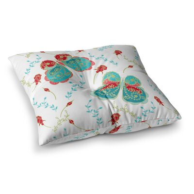 Leafy Butterflies by Anneline Sophia Floor Pillow Size: 23 x 23, Color: Aqua/Red