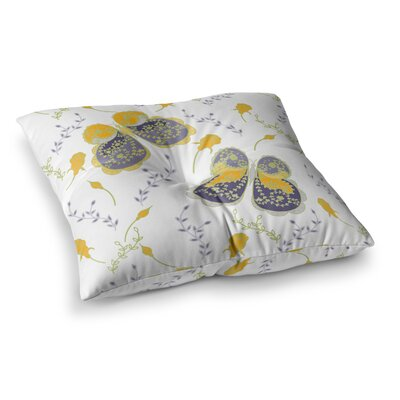 Leafy Butterflies by Anneline Sophia Floor Pillow Size: 26 x 26, Color: Yellow/Purple