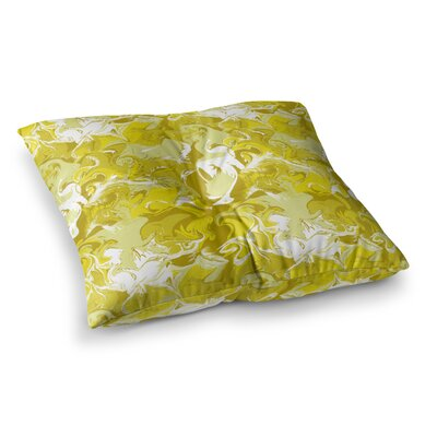 Marbleized by Anneline Sophia Floor Pillow Size: 26 x 26, Color: Yellow/Gold