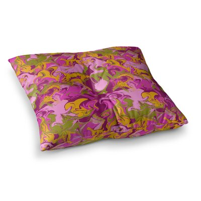 Marbleized by Anneline Sophia Floor Pillow Size: 26 x 26, Color: Pink/Purple