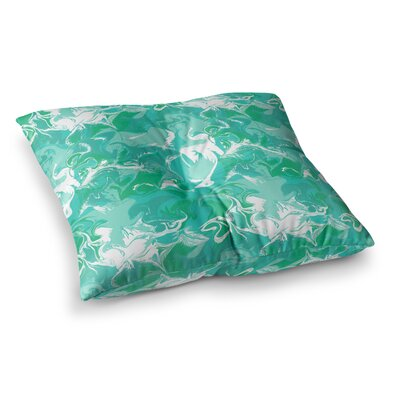 Marbleized by Anneline Sophia Floor Pillow Size: 23 x 23, Color: Teal/Aqua/Seafoam