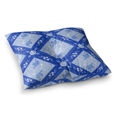 Diamonds by Anneline Sophia Floor Pillow Size: 23 x 23, Color: Aqua/White/Blue