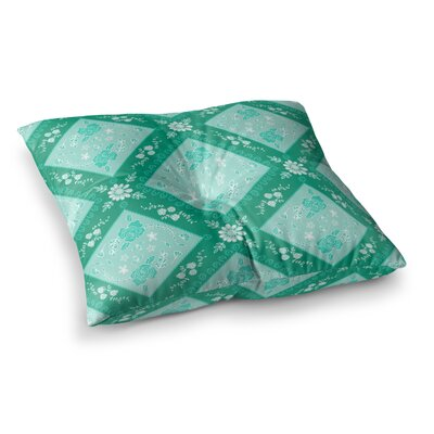 Diamonds by Anneline Sophia Floor Pillow Size: 26 x 26, Color: Green/Seafoam