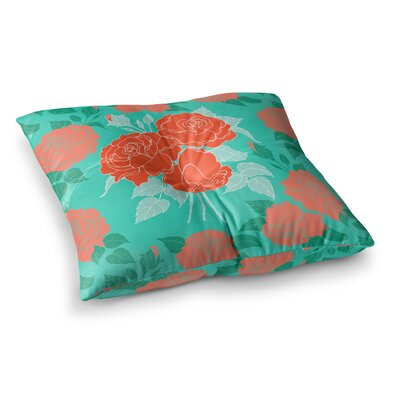 Summer Rose by Anneline Sophia Floor Pillow Size: 23 x 23, Color: Orange/Teal/Green