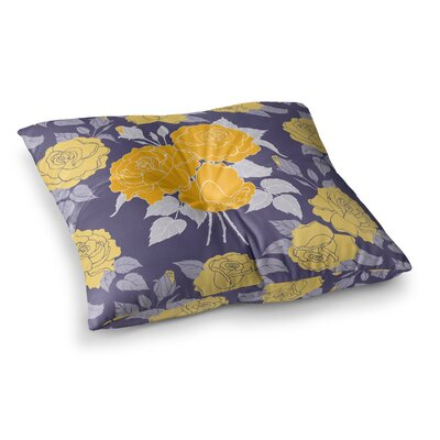 Summer Rose by Anneline Sophia Floor Pillow Size: 23 x 23, Color: Purple/Lavender/Yellow