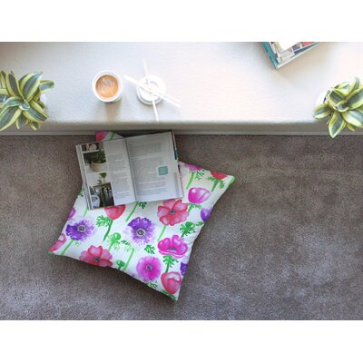 Anemones Flowers by Anneline Sophia Floor Pillow Size: 26 x 26
