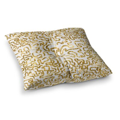 Squiggles by Anneline Sophia Floor Pillow Size: 23 x 23, Color: Yellow/White/Gold
