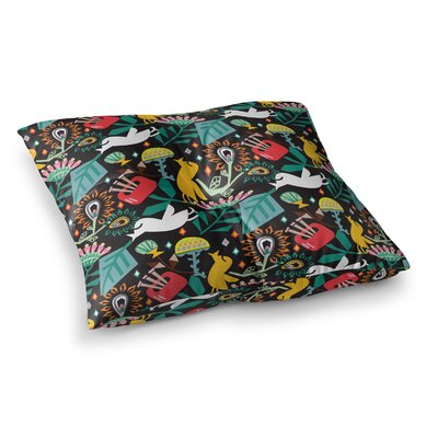 Folk Fusion Rainbow Abstract by Agnes Schugardt Floor Pillow Size: 26 x 26
