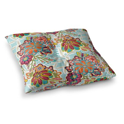 Kimono Floral Pattern by Agnes Schugardt Floor Pillow Size: 26 x 26