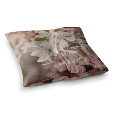 Apple Blossoms Flower by Angie Turner Floor Pillow Size: 23 x 23