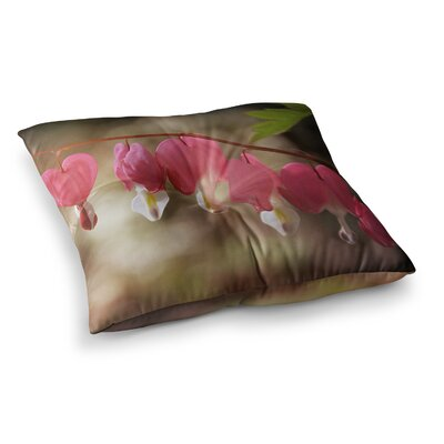 Bleeding Hearts Flower by Angie Turner Floor Pillow Size: 23 x 23