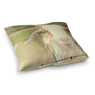 Happy Goat Smiling Animal by Angie Turner Floor Pillow Size: 23 x 23