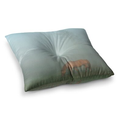 Horse in Fog Mist by Angie Turner Floor Pillow Size: 26 x 26