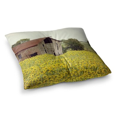 Field of Sunflowers Nature by Angie Turner Floor Pillow Size: 23 x 23
