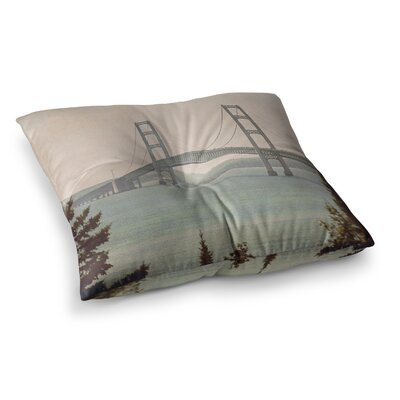 Mackinac Bridge Travel by Angie Turner Floor Pillow Size: 26 x 26