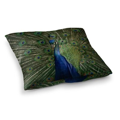Proud Peacock Animals by Angie Turner Floor Pillow Size: 23 x 23