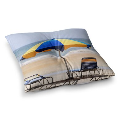Umbrella Coastal Photography by Angie Turner Floor Pillow Size: 23 x 23