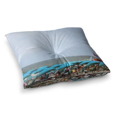 Superman at the Beach by Angie Turner Floor Pillow Size: 26 x 26